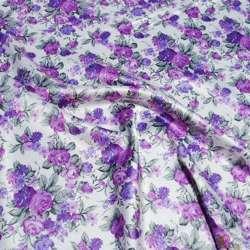 Атлас стрейч шамус белый с сиренево-фиолетовыми цветами ш.150 оптом
