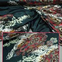 Атлас стрейч черный в красные огурцы и белые ветки ш.150 оптом