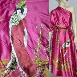 Атлас стрейч малиновый в розовые и зеленые ветки ш.150 оптом
