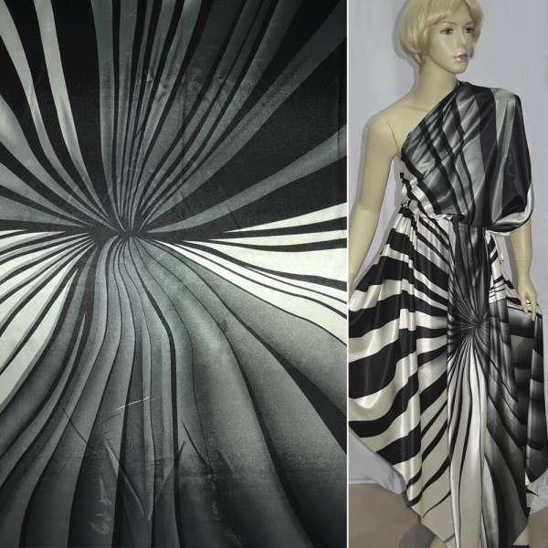 Атлас стрейч серый с белыми и черными полосами ш.150 оптом