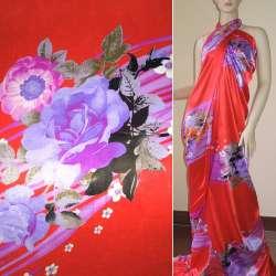 Атлас стрейч красный купон в фиолетовые полосы с цветами ш.150 оптом