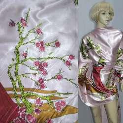 Атлас стрейч бледно-розовый с девушкой в вишневом платье ш.150 оптом