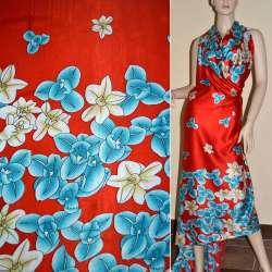 Атлас стрейч красный в голубой и бежевый цветок ш.150 оптом