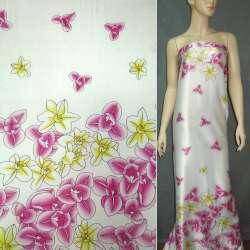 Атлас стрейч светло-бежевый в малиновые цветы ш.150 оптом