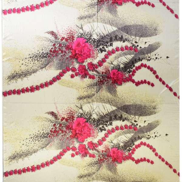 Атлас стрейч кремовый с малиновыми цветами в центре ш.150 оптом