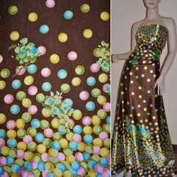 Атлас стрейч коричневый, двухсторонний купон в разноцветные круги ш.150 оптом