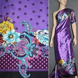 Атлас стрейч светло-сиреневый, двухсторонний купон в цветы ш.150 оптом