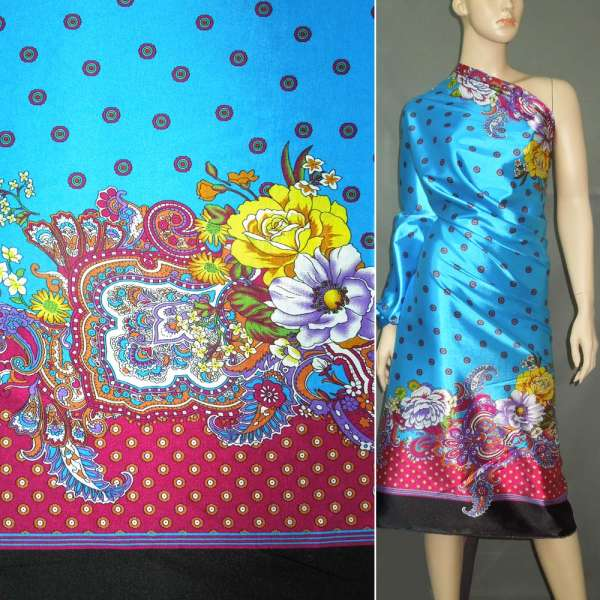 Атлас стрейч голубой двухсторонний черно-малиновый купон в цветы ш.150 оптом