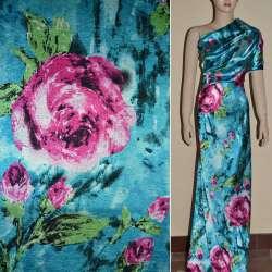 Атлас стрейч голубой с красными розами ш.150