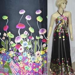 Атлас стрейч черный, двухсторонний купон в яркие цветы ш.150 оптом