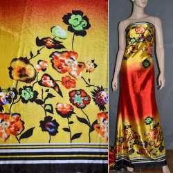 Атлас стрейч желто-красный, двухсторонний купон в цветы ш.150