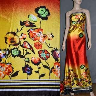 Атлас стрейч желто-красный, двухсторонний купон в цветы ш.150 оптом