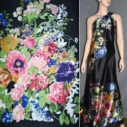 Атлас стрейч черный, двухсторонний купон в мелкие цветы ш.150 оптом