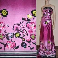 Атлас стрейч сиренево-розовый, двухсторонний купон в цветы ш.150 оптом