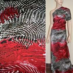 Атлас стрейч красный в коричнево-серый рисунок ящерица ш.150