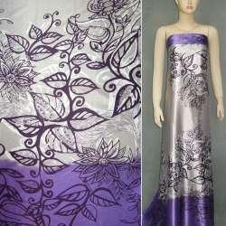 Атлас стрейч сиренево-серый, двухсторонний купон в цветы ш.150