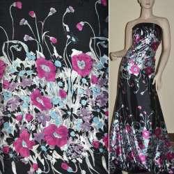 Атлас стрейч черный, двухсторонний купон в розовые голубые цветы ш.150 оптом
