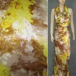 Атлас стрейч светло-коричневый с желтой абстракцией рисунок ш.150