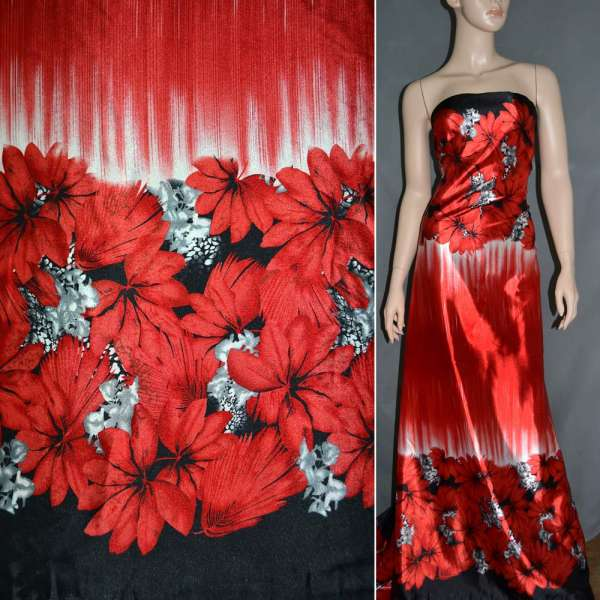 Атлас стрейч красный, двухсторонний купон с красно-черными цветами ш.150 оптом