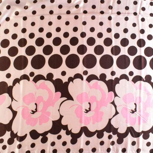 Атлас стрейч с коричнево-розовым абстрактным рисунком оптом