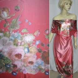 Атлас стрейч розово-красный, двухсторонний купон цветы ш.150 оптом