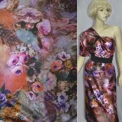 Атлас стрейч коричневый с розово-фиолетовыми цветами принт ш.150 оптом
