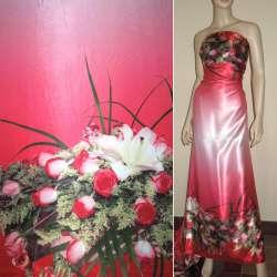Атлас стрейч розовый, двухсторонний купон розы ш.150