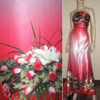 Атлас стрейч розовый, двухсторонний купон розы ш.150 оптом