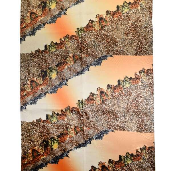 Атлас стрейч оранжево-кремовый в диагональные коричневые полоски оптом