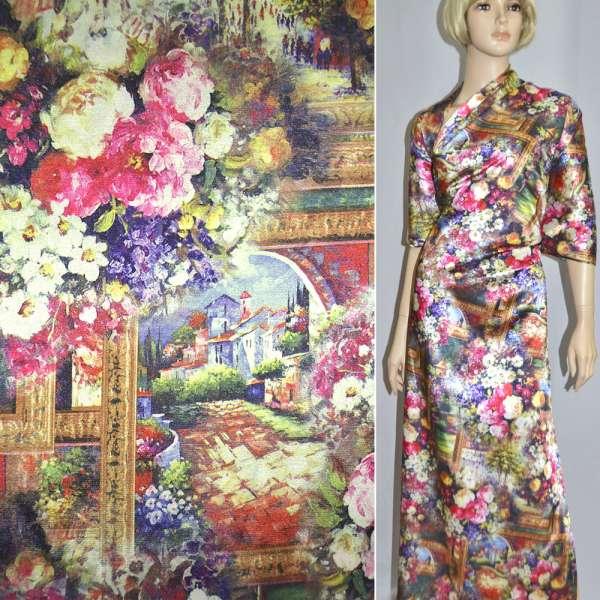 Атлас стрейч бежево-розовый с городским пейзажем и цветами ш.150 оптом