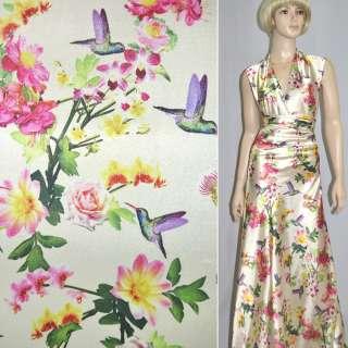Атлас стрейч кремовый с розово-желтыми цветами и птицами ш.150 оптом