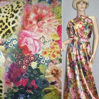 Атлас стрейч розово-золотой с цветами принт леопард (принт) ш.150 оптом