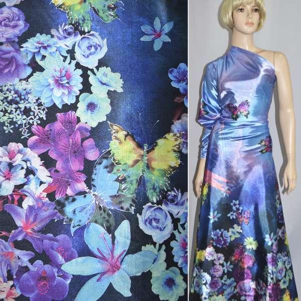 Атлас стрейч фиолетово-синий односторонний купон цветы бабочки ш.152 оптом