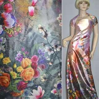 Атлас стрейч розово-серый односторонний купон разноцветные цветы ш.150 оптом