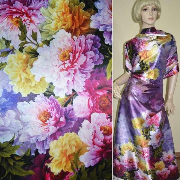 Атлас стрейч темно-сиреневый, двухсторонний купон разноцветные цветы ш.180 оптом