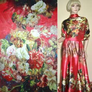 Атлас стрейч красный, двухсторонний купон разноцветные цветы ш.170 оптом