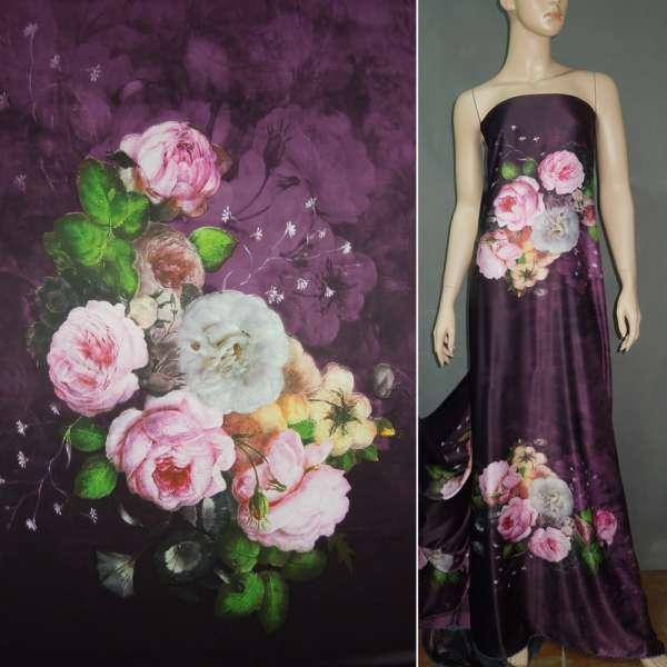Атлас шелковый фиолетовый с молочно-розовыми букетами цветов оптом