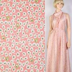 Шелк японский розовый в бело-зеленые цветы ш.150 оптом