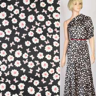 Шелк японский черный в бело-розовые цветы, ш.150 оптом