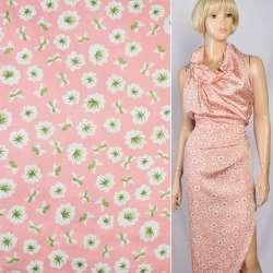 Шелк японский розовый в бело-салатовые цветы, ш.150 оптом