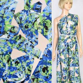 Шелк японский белый в сине-зеленый абстрактный рисунок, ш.150 оптом