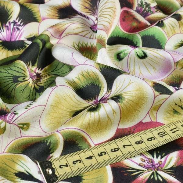 Шелк японский стрейч бело-зеленые анютины глазки, ш.150 оптом