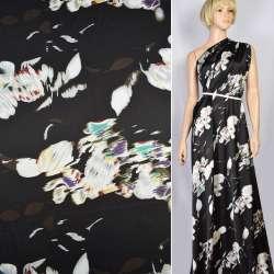 Шелк японский стрейч черный в белые абстрактные цветы, ш.150 оптом
