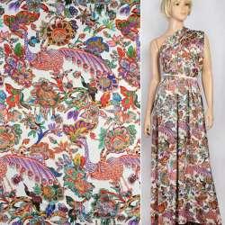 Шелк японский стрейч белый, красно-сиреневые павлины, яркие цветы, ш.150