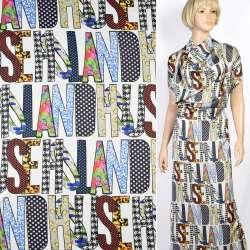 Шелк японский стрейч белый в цветные английские буквы, ш.150