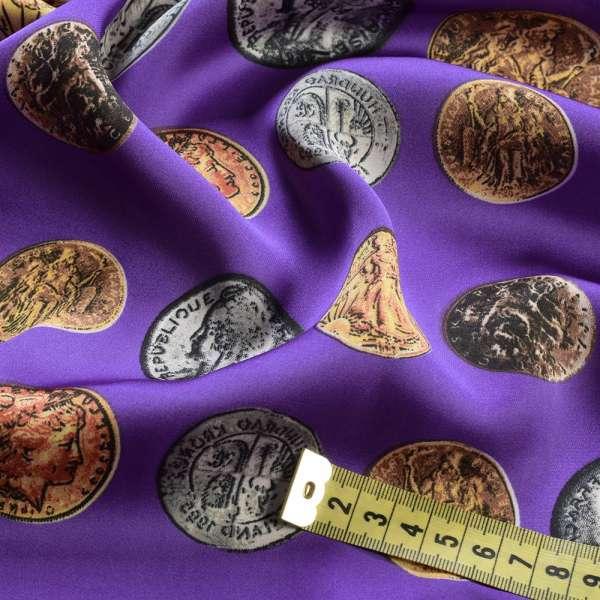 Шелк японский фиолетовый в монеты, ш.145 оптом