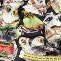 Шелк японский стрейч черный в серые и зеленые совы, ш.150 оптом