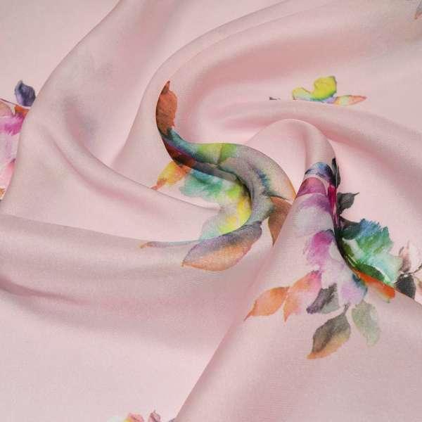 Шелк японский розовый с малиново-терракотовыми цветами ш.150 оптом