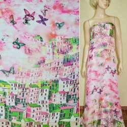 Шелк японский розовый, двухсторонний купон город (принт) ш.165
