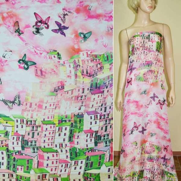 Шелк японский розовый, двухсторонний купон город (принт) ш.165 оптом